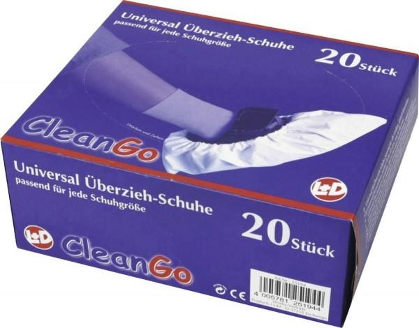 CleanGo PE-Überziehschuh, weiß weiss mit Gummizug, 20 Stück in Spenderbox unisex unisize