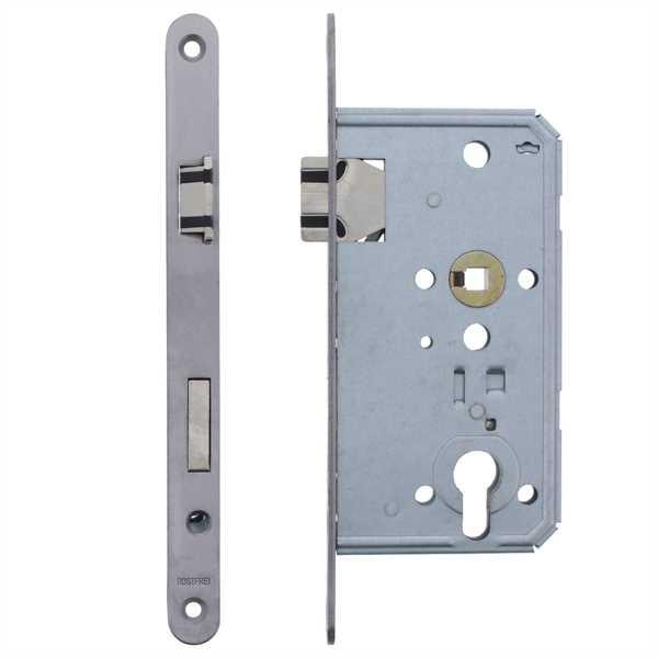 """ToniTec® Einsteckschloss Soft Lock """" Flüsterfalle """" 55/72/8   Edelstahl Stulp 20 x 235 mm"""