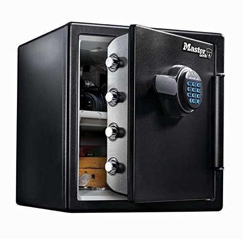 Master Lock Feuer- und wasserbeständiger Tresor mit digitaler Kombination, extra groß 33,6 L, schwarz, LFW123FTC