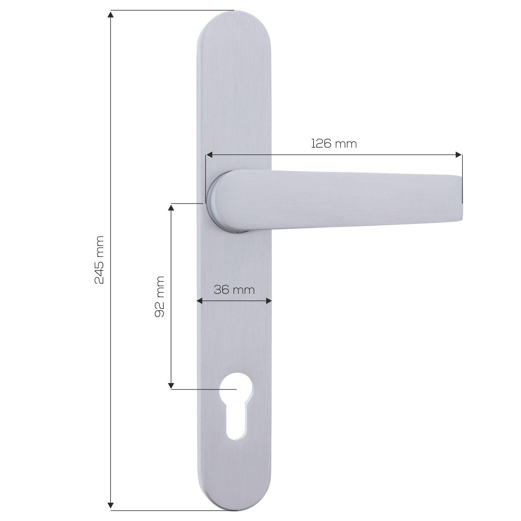 """ToniTec® Schmalrahmen-Drücker-Halbgarnitur Modell /""""Tino/"""" für Außentüren PZ 92 //"""