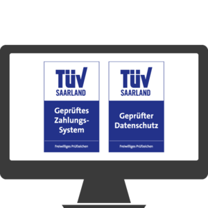 TÜV-zertifizierter Datenschutz / TÜV geprüftes Zahlungssystem