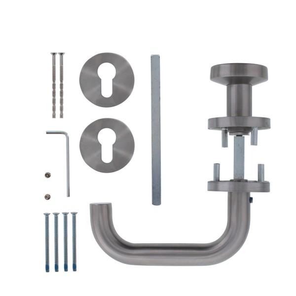 HAFI Feuerschutz Wechselgarnitur DG202 Vierkant 9 mm Türstärke 47-62 mm ES Edelstahl rostfrei 202A1225044