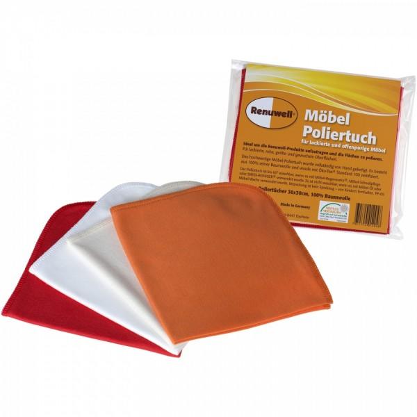 Renuwell Möbel-Poliertuch Poliertücher Set 4 Stück 30x30cm Orange Beige Weiß Rot 7611714012048