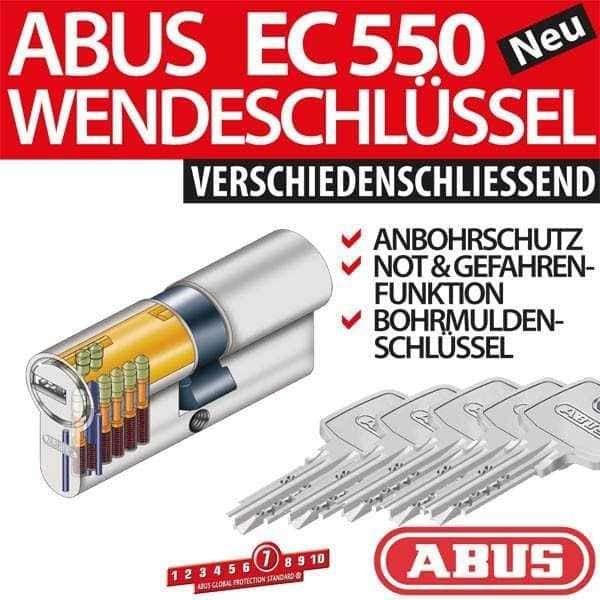 ABUS Profilzylinder Zylinder Türzylinder EC550 EC 550 inkl. 5 Schlüssel vs. B-Ware 45/45